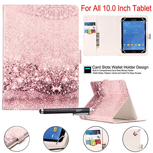 Universal 10' Case, Newshine Synthetic Leather Magnetic Closure [Cards/Money Slots] Flip Stand Wallet Protective Case for All Universal 10 inch Tablet, Bling
