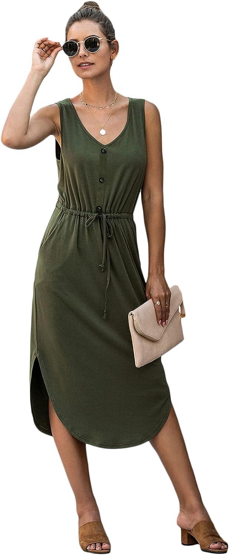 Floerns Women's Casual Drawstring Waist Sleeveless Midi Length Tank Dress