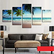 GYSS 5 panel Coconut Tree Blue Sky And Ocean Beach Seascape Home Wall Decor Canvas Picture Art Hd Print Painting