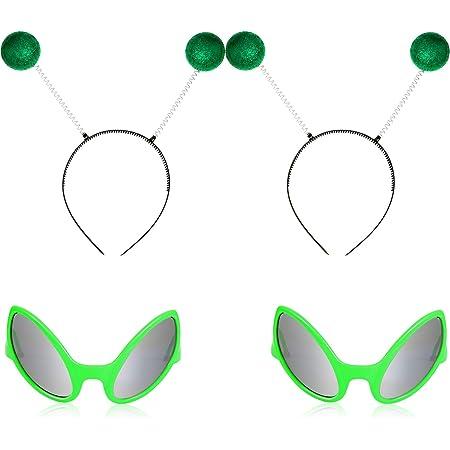 Paquete De 6 Accesorios De Disfraz De Alienígena Que Incluyen Gafas De Sol De Alienígena Diademas De Antena Y Pendientes Colgantes Para Extraterrestres De Halloween Toys Games