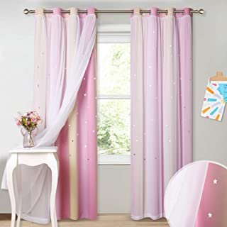 PONY DANCE Sheer Lined Curtains - Grommet Drapes Gradient Color with Cut Out Stars Pattern Match Voile Layer for Star Space Brighten Decor Plain Window Covering, W 52 x L 95 inches, Pink/Yellow, 2 PCs