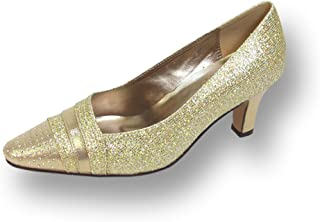 Floral FIC Effle Women Wide Width Evening Dress Shoe for Wedding, Prom, and Dinner Gold