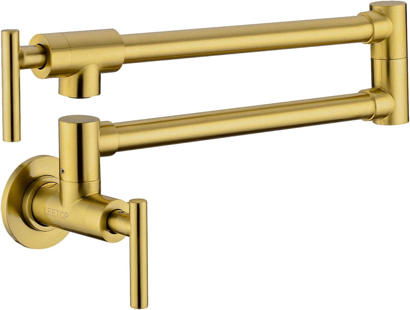 LEETCP Pot Filler Faucet Regular dealer Wall Material Brass Brushed Outstanding Mount Gol