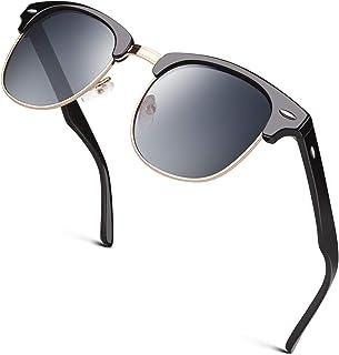 GQUEEN Classic Horn Rimmed Half Frame Polarised Sunglasses for Men Women,GQO6