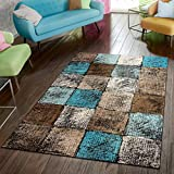 Paco Home Area Rug for Living Room in Brown Cream Turquoise Checked Modern Style Good Value, Size:2'8' x 4'11'
