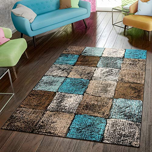 Area Rug for Living Room in Brown Cream Turquoise Checked Modern Style Good Value, Size:5'3' x 7'3'