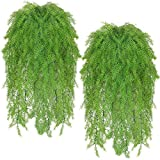 4 Pcs Artificial Greenery Ferns Plants Vines Fake Ivy Hanging Flowers Vine Pine Needle Wall Hanging Simulation UV Resistant Plastic Plant for Wall Indoor Outdoor Hanging Baskets Wedding Garland Decor