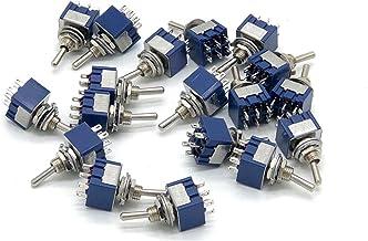18 Unids Mini Interruptor de palanca MTS-203 Interruptor de palanca de sacudida oscilante de 6 pies 6MM 3 Pin ON-Off-ON Interruptor de palanca de bloqueo Interruptores de bote de auto