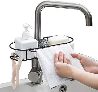 Baffect Porte-éponge de cuisine en métal organisateur de lavabo Range-panier, porte-éponge pour vaisselle, support de rang...