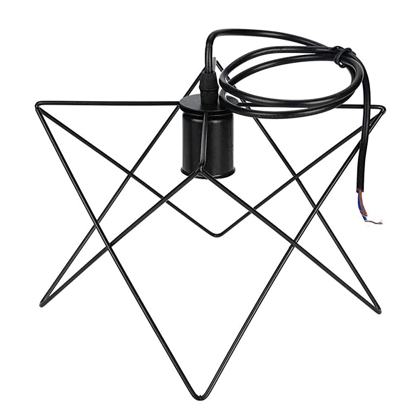 Metal Pendant Light,Industrial Ceiling Light E27 Retro Style Geometric Framework Pendant Light Antique Pipe Lamp Fixture for Hallway Stairway Bedroom Kitchen Black