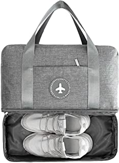 LOMAO Sports Bag Gym Bag with Shoes Compartment Hiking Travel Luggage Bag for Men and Women (Grey)