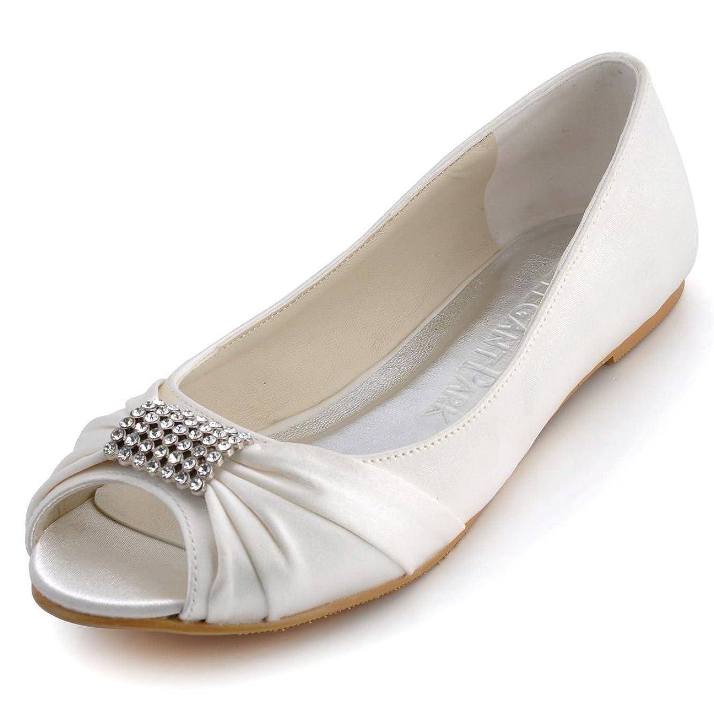 ElegantPark Women Peep Toe Rhinestones Comfort Flats Pleated Satin Wedding Bridal Shoes