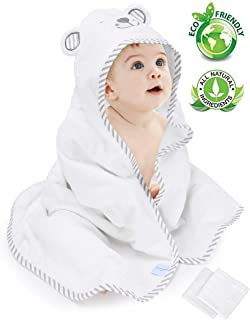 Eccomum Baby Hooded Towel Organic Bamboo Baby Bath Towels for Toddlers, Ultra Soft, Super Absorbent Thick, Large 35