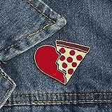 LFDHZ 2 pzas/Set Creativo Medio Corazón Pizza Esmalte Metal Pasadores Hebilla Costura Abrigos Abrigos Sombrero Pin...