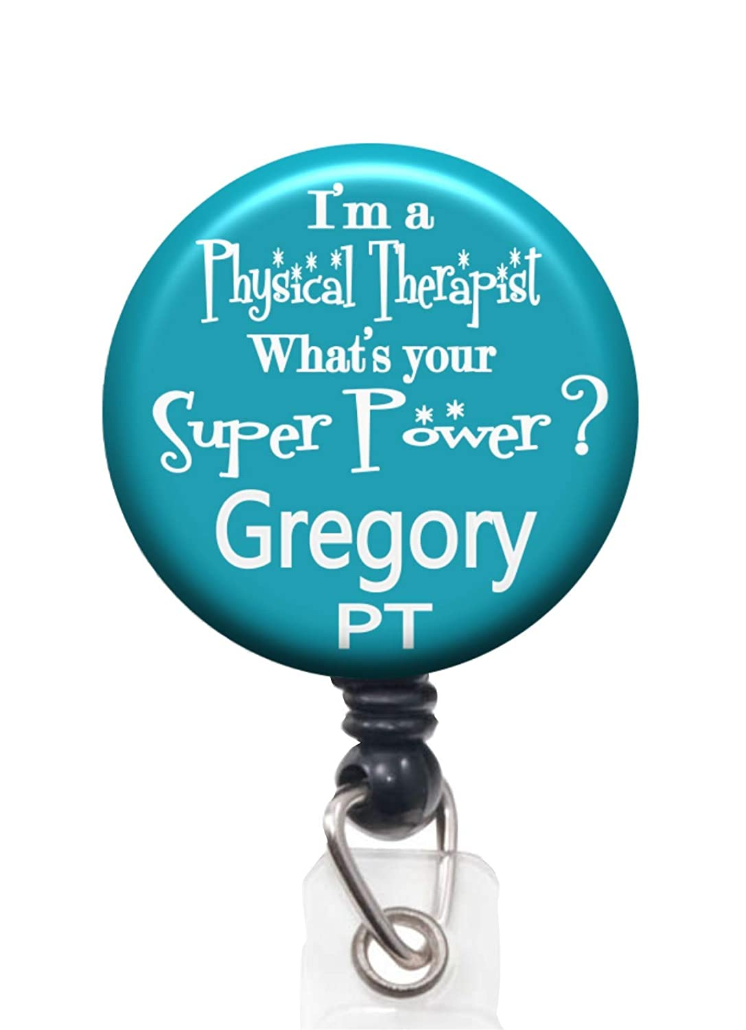 Personalized Physical Nippon regular agency Therapist Super Power Badge Ree Mail order cheap Id Lanyard