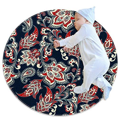 RogueDIV Vintage Floral Circular Carpet zacht en comfortabel vloerbedekking, mat met anti-slip voering, geschikt voor huis Bedroom Decoratie