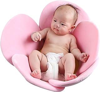 وسادة لحوض استحمام الاطفال بتصميم بتلات الوردة، للاطفال حديثي الولادة، مع دعم للمقعد وكرسي التمدد، وسادة استحمام بتصميم زهرة