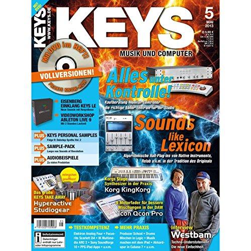 Keys 5 2013 mit DVD - Monitor Controller - Software auf DVD - Personal Samples - Free Loops - Audiobeispiele