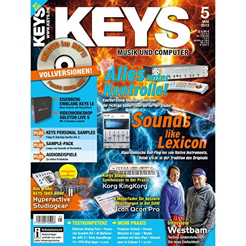 Keys 5 2013 mit DVD - Monitor Controller - Software auf DVD - Personal Samples - Free Loops - Audiobeispiele