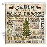 Cabin Rules Shower Curtain, Rustic Funny Quotes and Deer Pine Tree on...