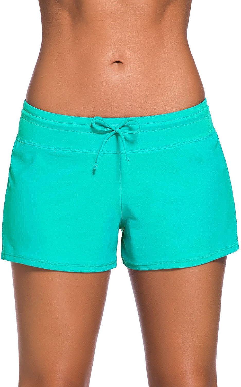 FAZLIY Women's Board Boy Shorts Summer Waistband Swimsuit Bottom with Panty for Girls