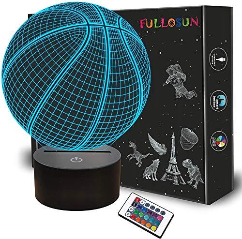 Luz nocturna 3D de baloncesto, regalo de cumpleaños, lámpara de ilusión en 3D, con mando a distancia, 16 colores cambiantes, decoración de habitaciones infantiles, idea de regalo