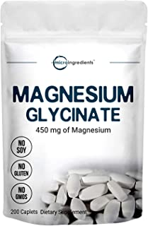 Micro Ingredients Magnesium Supplement, Magnesium Glycinate 450mg, 200 Caplets, Immune System and Joint Health Support, No...