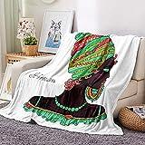 Manta para Sofá de Franela Mantas Mujer Africana Blanca 130x150 cm para Cama Suave Manta Pelo de Microfibra Transpirable Hipoalérgica Manta Forro Polar Reversible