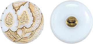 Botones, 1 Pieza, Button prensado Redondo checo con una caña de Metal, tamaño 8 (diámetro 18 mm), Vidrio Bohemio, Pintado a Mano, White with Gold Floral Ornament