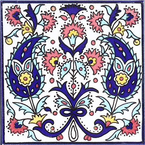 Casa Moro Orientalische Fliese handbemalte Keramikfliese Isa-1 14,8 x 14,8 cm Kunsthandwerk aus Palästina Wandfliese für schöne Küche Dusche Badezimmer Dekoration   FL8301