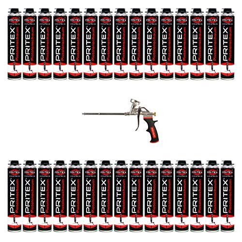 Bauschaum Set 30 x 750ml Pistolenschaum inkl. Schaumpistole PU Schaum Montageschaum