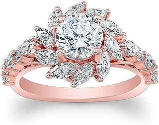 winsopee Sun Flower Diamond Zircon Ring Band Luxury Creative Design Rose Gold Ladies Promise Ring Jewelry