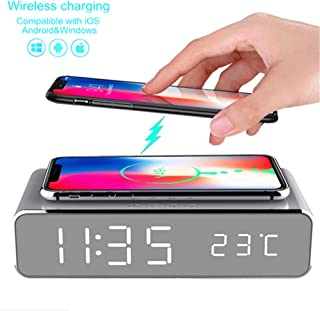 LED Smart Alarm Clock Time Temperature Display Wireless Charger Charging Pad Dock, Qi-Certified for iPhone 11, 11 Pro Max, XR, Xs Max, XS, X, 8, 8 Plus, 10W Charging Galaxy S10 S9 S8, Note 10 Note 9