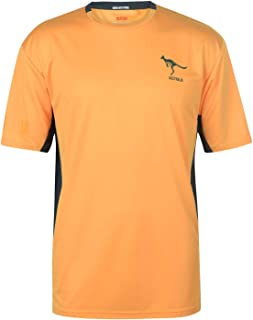 Australia Wallabies Polyester T-Shirt Mens Yellow Atheleisure Top Tee Small