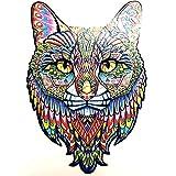 clacce Holzpuzzle, Geheimnisvolles Tier-Totem-Puzzle, Holzpuzzle Fur Erwachsene Und Kinder, Ideal Für Die Familienspielsammlung (Katze, One Size)