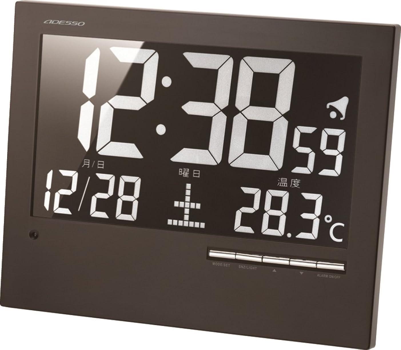 分刺激する気がついてADESSO(アデッソ) 掛け時計 電波時計 温度 日付表示 置き掛け兼用 ブラック AK-62