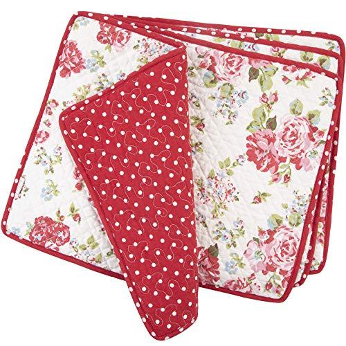 NEOVIVA Lot de 4 sets de table rectangulaires matelassés en coton pour table de cuisine, 45 x 30 cm, motif floral sucette Rouge