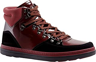 Contrast Combo Dark Red Patent Leather/Suede High top Sneaker 368496 1078