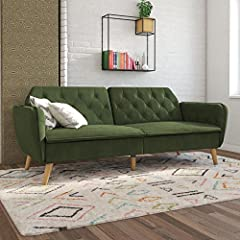 """Futon dimensions: 83""""L x 33.5""""W x 32.5""""H. Sleeping dimensions: 73""""L x 44""""W x 17.5""""H. Weight limit: 600 lb. Made on a sturdy wood frame with filling made of high-density foam and memory foam for ultimate comfort Multi-functional design. The back can b..."""