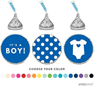 Andaz Press Chocolate Drop Labels Trio, Fits Hershey's Kisses, Boy Baby Shower, Royal Blue, 216-Pack