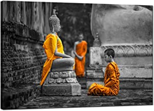 sechars - Modern Canvas Art Wall Decor Novices Monk Vipassana Meditation at Front of Buddha Wall Art Painting Giclee Print Stretched and Framed Ready to Hang Home Salon Zen Yoga Room Decoration
