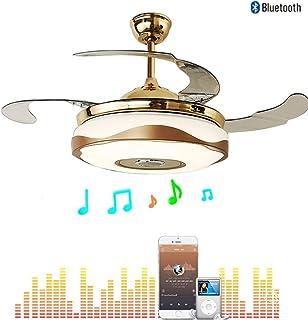 Moerun 42 pulgadas ventilador de techo moderno con luz inteligente Bluetooth reproductor de música Candelabro 7 colores Invisible cuchillas con mando a distancia, regulable kits de LED incluidos