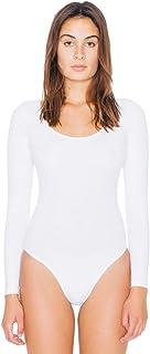 American Apparel Women`s Cotton Spandex Long Sleeve Scoop Back Bodysuit