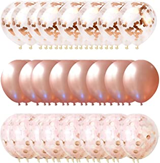 Rose Gold Balloons & Rose Gold Confetti Balloons (63 pc) Ribbon -12 inch - Balloon for Baby Shower, Bridal Shower, Bachelorette, Weddings or Birthday Parties Rose Gold Pink Balloon Garland Kit Pink