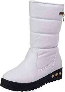 comprar comparacion Botas de Nieve Botines Mujer, LANSKIRT Mujeres Cuero Impermeable Sólido Zapatos Planos Invierno Caliente Botas de Nieve Bo...
