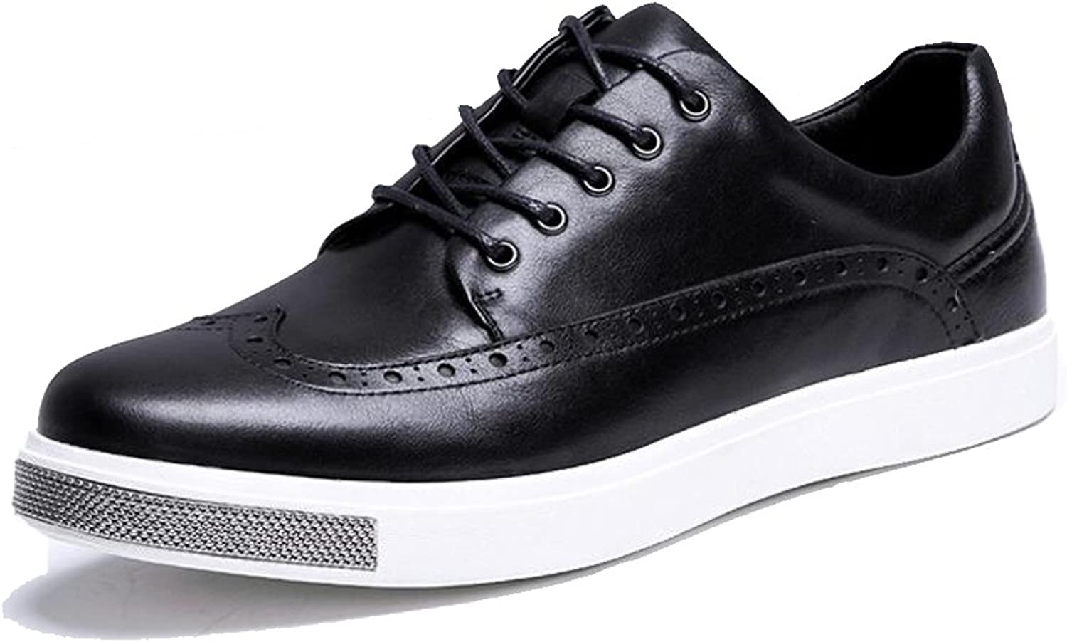 JUNBOSI New Men's shoes - Casual Lace up shoes - Brock Leather shoes Black UK Size 6 7 8 9 10