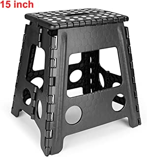 weuiuit Travel Outdoor Camping Folding Step Stool Plastic Carrying Portable Chair Anti Slip Bathroom Stool 29X22X27cm,Black 15Inch