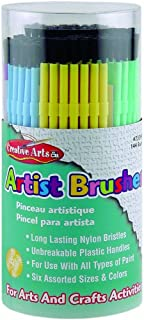 Charles Leonard Creative Arts Artist Paint Brushes, Plastic Handles with Nylon Bristles, 6 Assorted Sizes and Colors, 144-...
