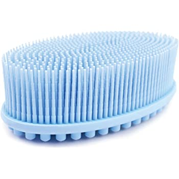 Avilana Exfoliating Silicone Body Scrubber Easy to Clean, Lathers Well, Eco Friendly, Long Lasting, And More Hygienic Than Traditional Loofah (Blue)