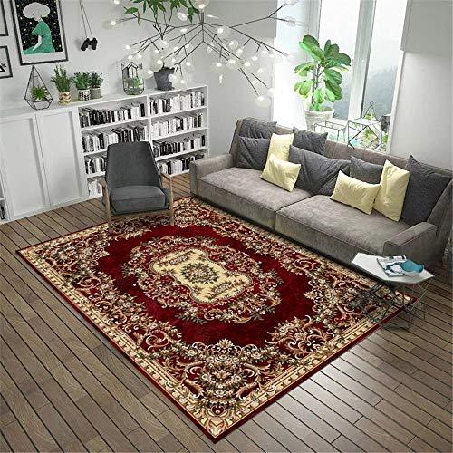 RUGMRZ Teppiche Waschbar Schlafzimmer Teppich Dunkelroter orientalischer Retro Blumenmuster geometrischer Muster Rutschfester Wohnzimmerteppich Anti-rutsch Multi-größe Teppich rot 200X300CM